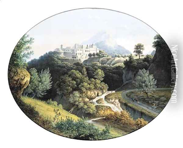An extensive montainous landscape with a town on the top of a hill Oil Painting - Joseph Augustus Knip