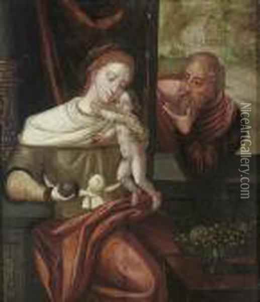 The Holy Family Oil Painting - Pieter Coecke Van Aelst