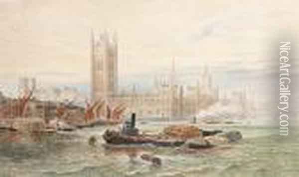 The Palace Of Westminister Oil Painting - George Vicat Cole
