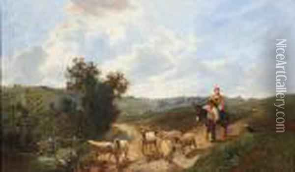 Travellers And Sheep On A Country Road Oil Painting - George Vicat Cole