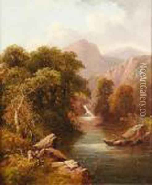 Wooded River Landscape Oil Painting - George Vicat Cole