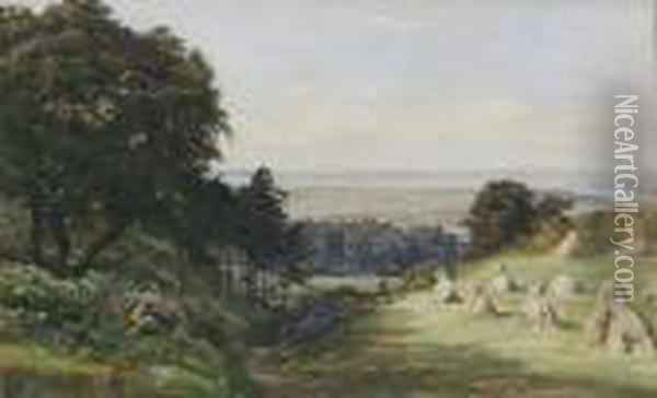 Distant View Of Portsmouth Harbour Oil Painting - George Vicat Cole