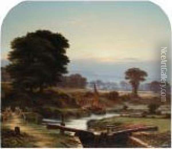 The Lock Ludlow Oil Painting - George Vicat Cole