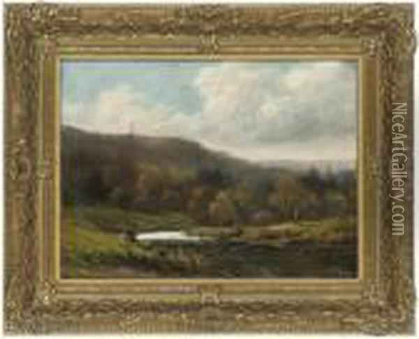 An Angler In A River Landscape Oil Painting - George Vicat Cole