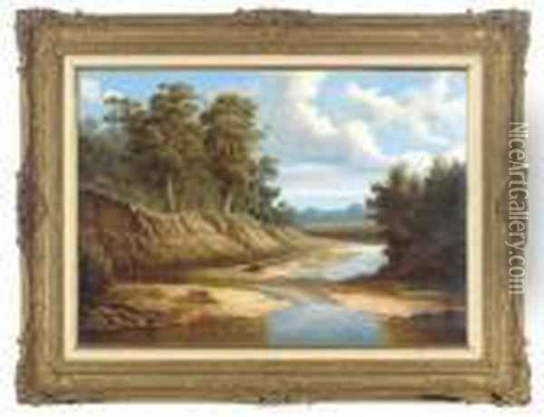 A Bend In The River Oil Painting - George Vicat Cole