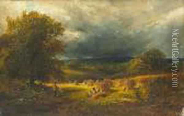 Figures In A Hayfield Under Threatening Skies Oil Painting - George Vicat Cole