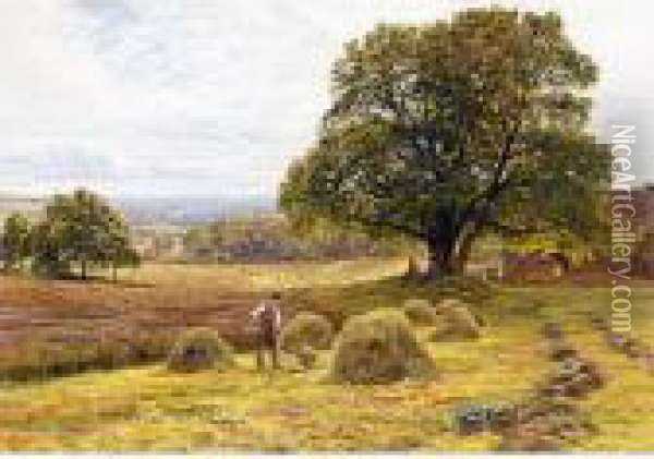 Figures Haymaking Oil Painting - George Vicat Cole