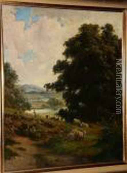 Figures And Sheep, A River Beyond Oil Painting - George Vicat Cole