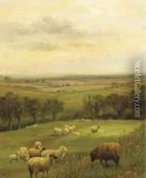 Sheep Grazing In An Extensive Country Landscape Oil Painting - George Vicat Cole