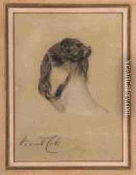 A Young Lady With A Bun Oil Painting - George Vicat Cole