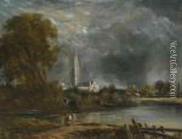 Salisbury Cathedral From The Meadows Oil Painting - John Constable