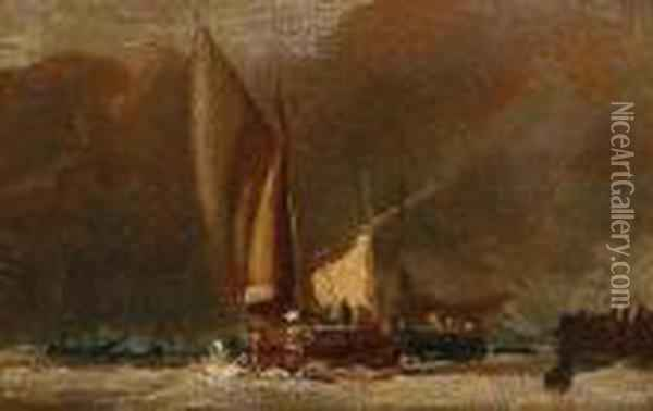 Fishing Boats Off Shore Oil Painting - John Constable
