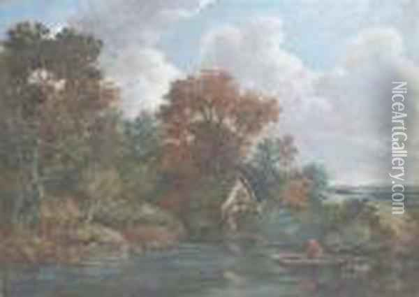 Watermill Near Flatford Oil Painting - John Constable