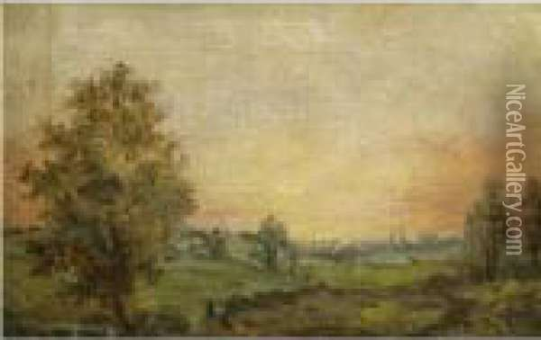 A Landscape Near Dedham At Sunset Oil Painting - John Constable