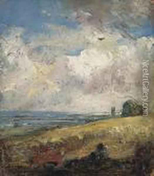 The Skylark, Dedham (recto); Study Of A Cow (verso) Oil Painting - John Constable