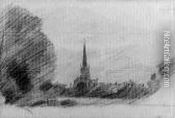 Solihull Church From The Grounds In Front Of Malvern Hall Oil Painting - John Constable
