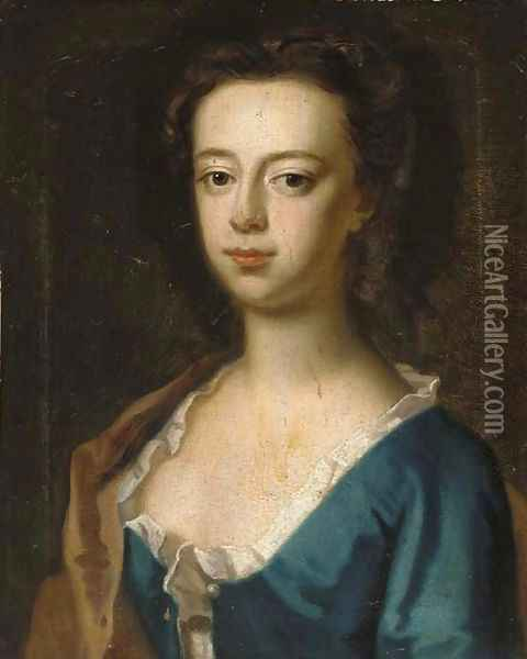 Portrait of a lady, bust-length, in a blue dress and brown wrap Oil Painting - Sir Godfrey Kneller