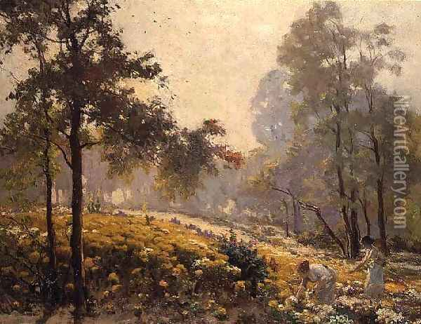Women picking yellow flowers in a wooded landscape Oil Painting - Jeno Karpathy