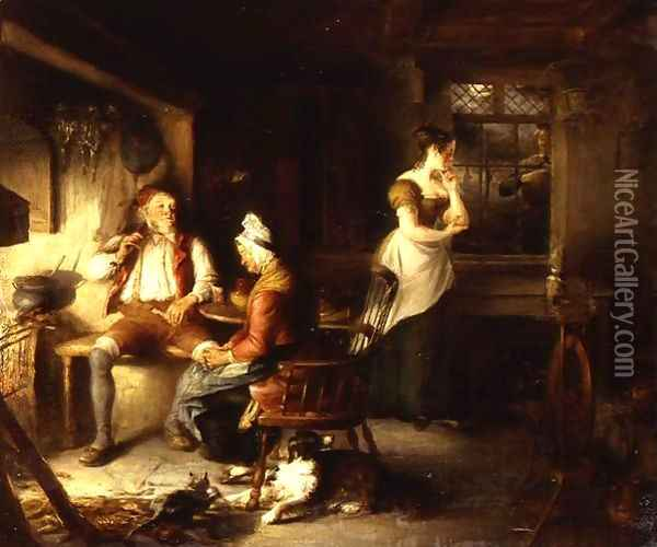 My Mother Dozed Before The Fire Oil Painting - William Kidd