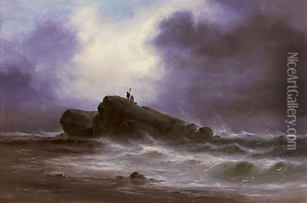 Out on the rocks, the tide receding Oil Painting - S.L. Kilpack
