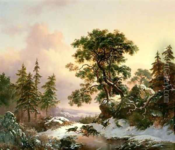 Wolves in a Winter Landscape Oil Painting - Frederick Marianus Kruseman