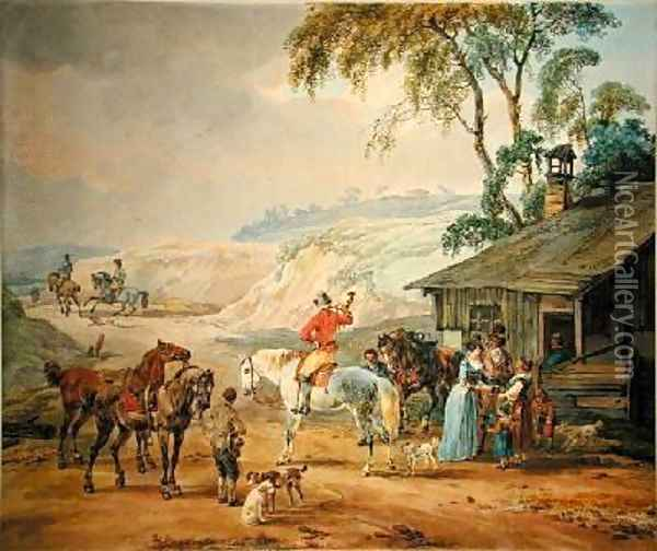 Hunting Party Oil Painting - Wilhelm Alexander Kobell