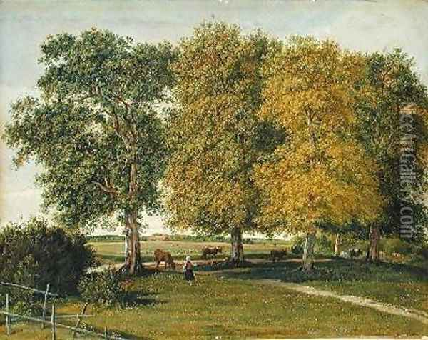 Herder with Cattle beneath Autumnal Trees Oil Painting - Wilhelm Alexander Kobell