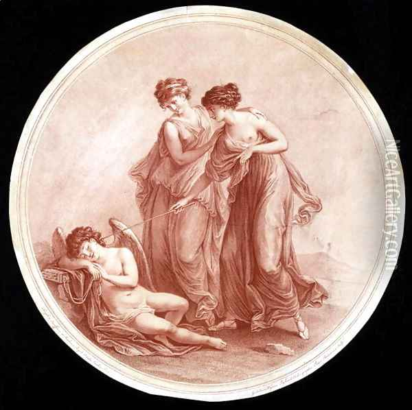 Graces Awakening Cupid Oil Painting - Angelica Kauffmann