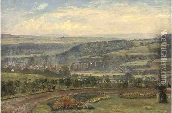 Across the valley to the city beyond Oil Painting - John William Buxton Knight