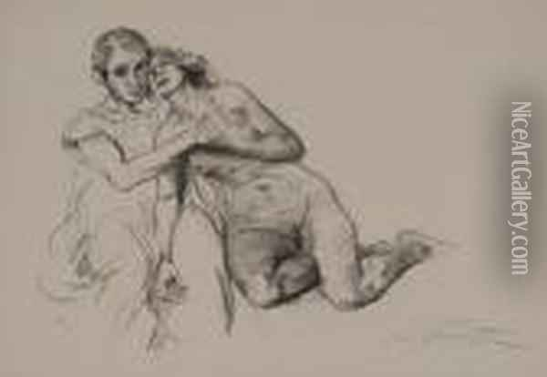 Two Prints Of Nudes Oil Painting - Lovis (Franz Heinrich Louis) Corinth