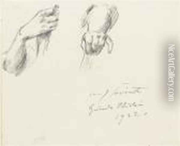 Study Of Two Hands; And Three Dogs, Two Fighting, By The Samehand Oil Painting - Lovis (Franz Heinrich Louis) Corinth