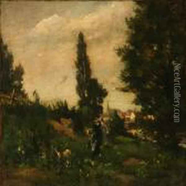 Three Women Walking In A Forest Oil Painting - Jean-Baptiste-Camille Corot