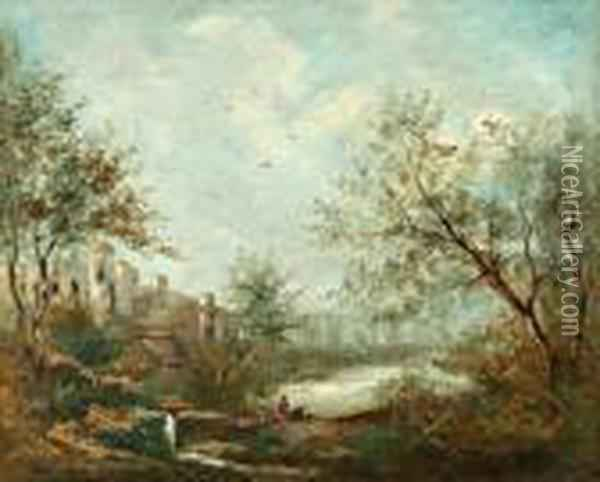 Paysage Aux Ruines Oil Painting - Jean-Baptiste-Camille Corot