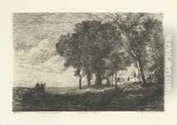 Paysage D'italie. Oil Painting - Jean-Baptiste-Camille Corot