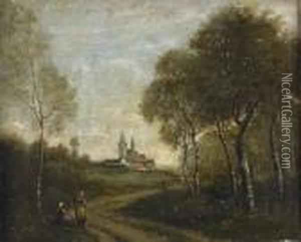 Bauerinnen Am Waldrand. Oil Painting - Jean-Baptiste-Camille Corot