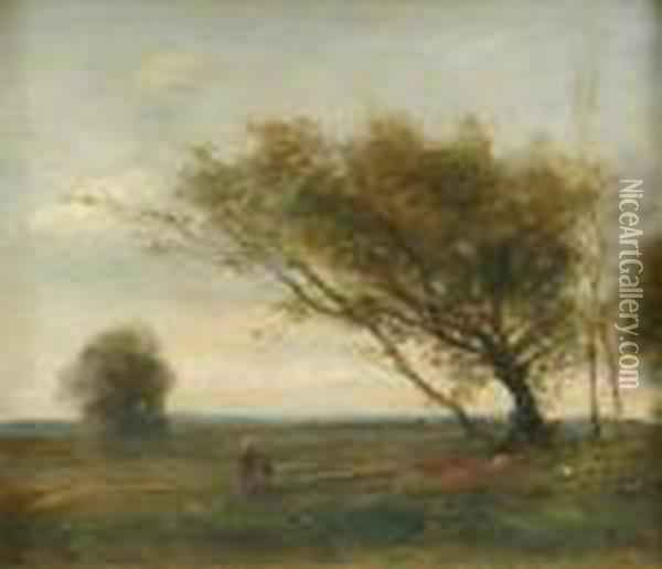 Follower Of  Jean-baptiste-camille Corot Landscape With Two Figures And A Group Of  Windswepttrees Oil Painting - Jean-Baptiste-Camille Corot