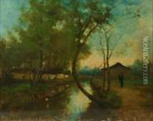 A Figure And Buildings On The Bank Of A River Oil Painting - Jean-Baptiste-Camille Corot