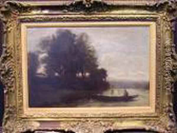 Riverscape With Punt Oil Painting - Jean-Baptiste-Camille Corot