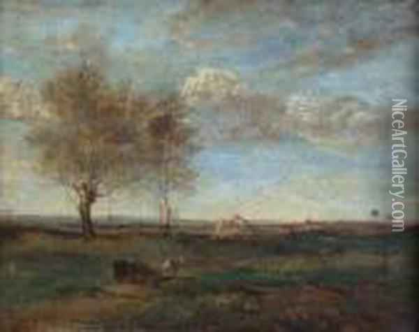 An Italian View With Horse And Cart Oil Painting - Jean-Baptiste-Camille Corot