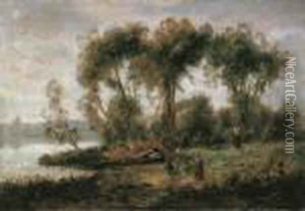 Paessagio Fluviale Con Contadine Oil Painting - Jean-Baptiste-Camille Corot