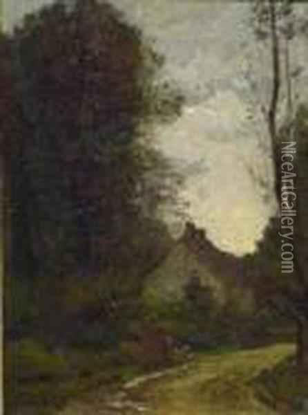The Woodman's Cottage Oil Painting - Jean-Baptiste-Camille Corot