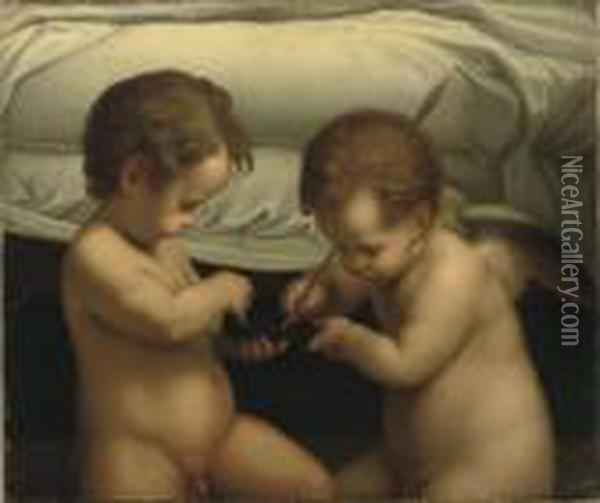 Two Putti Playing With An Arrow Before A Bed Oil Painting - Correggio, (Antonio Allegri)