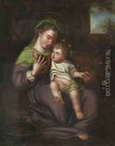 The Madonna Of The Basket Oil Painting - Correggio, (Antonio Allegri)
