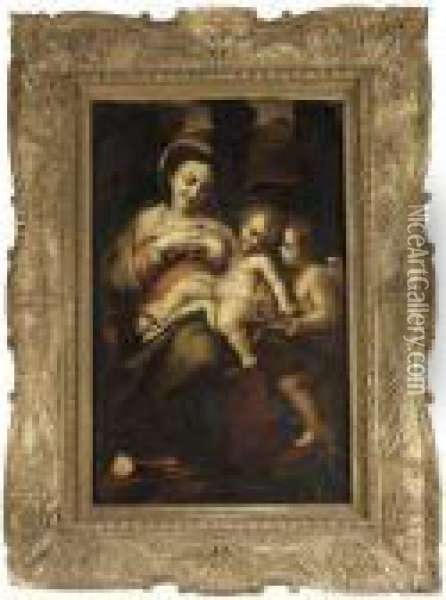 The Madonna And Child With The Infant Saint John The Baptist ('madonna Della Latte') Oil Painting - Correggio, (Antonio Allegri)