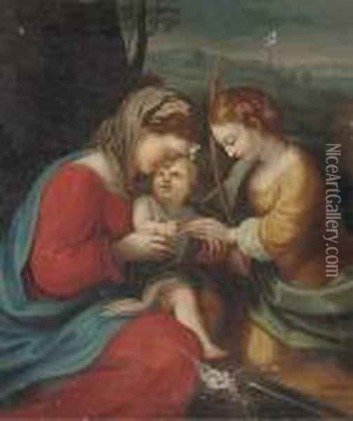 The Mystic Marriage Of Saint Catherine Oil Painting - Correggio, (Antonio Allegri)