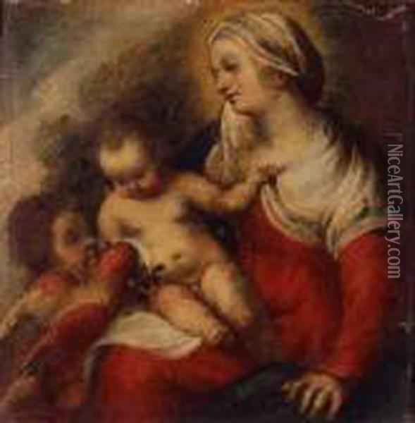 Madonna And Child With Parrot And Infant Saint John The Babtist Oil Painting - Correggio, (Antonio Allegri)