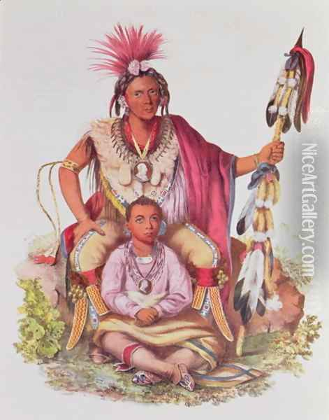 Keokuk or Watchful Fox Chief of the Sauks and Foxes and his Son Musewont or Long haired Fox Oil Painting - Charles Bird King