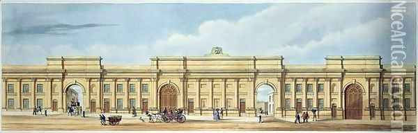 New Grand Entrance to the Liverpool and Manchester Railway Lime Street Liverpool Oil Painting - Kelper, S.