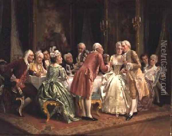 The Engagement Oil Painting - August Knoop
