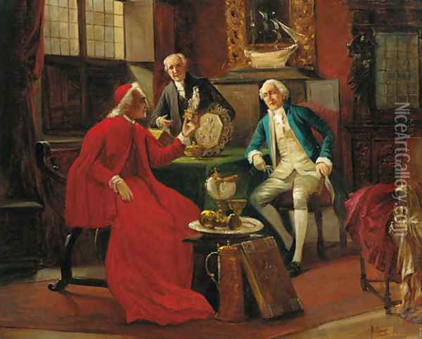 The connoisseurs Oil Painting - August Knoop